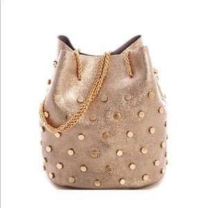 Handbags - Real Leather Studded Bucket Bag